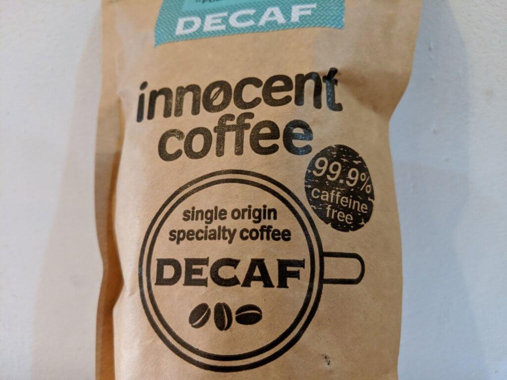 イノセントコーヒーのコロンビア豆デカフェのパッケージ拡大版